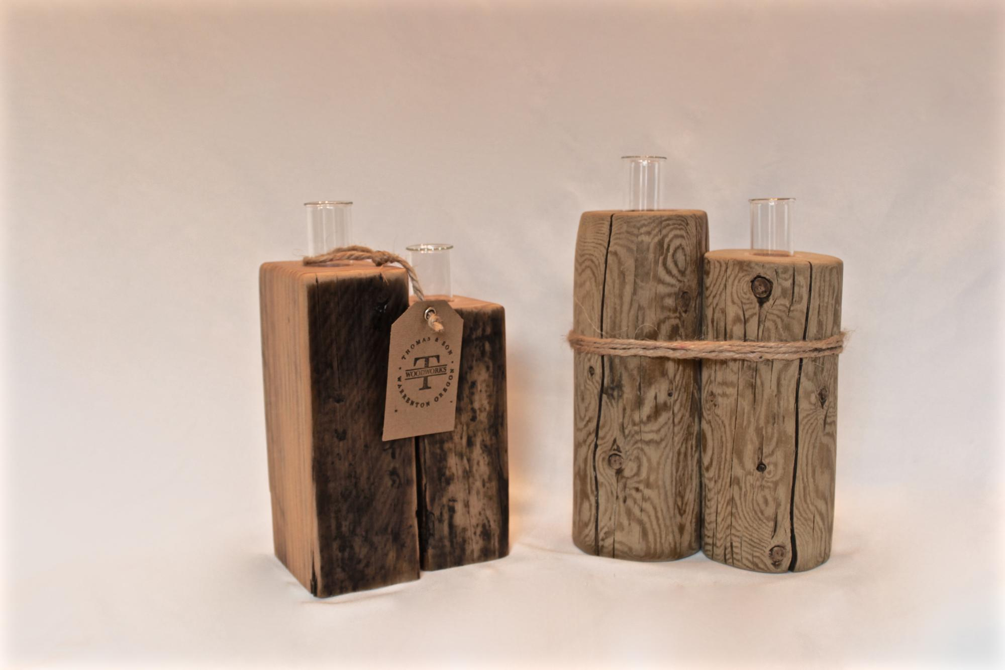 Driftwood test tube vases. $30