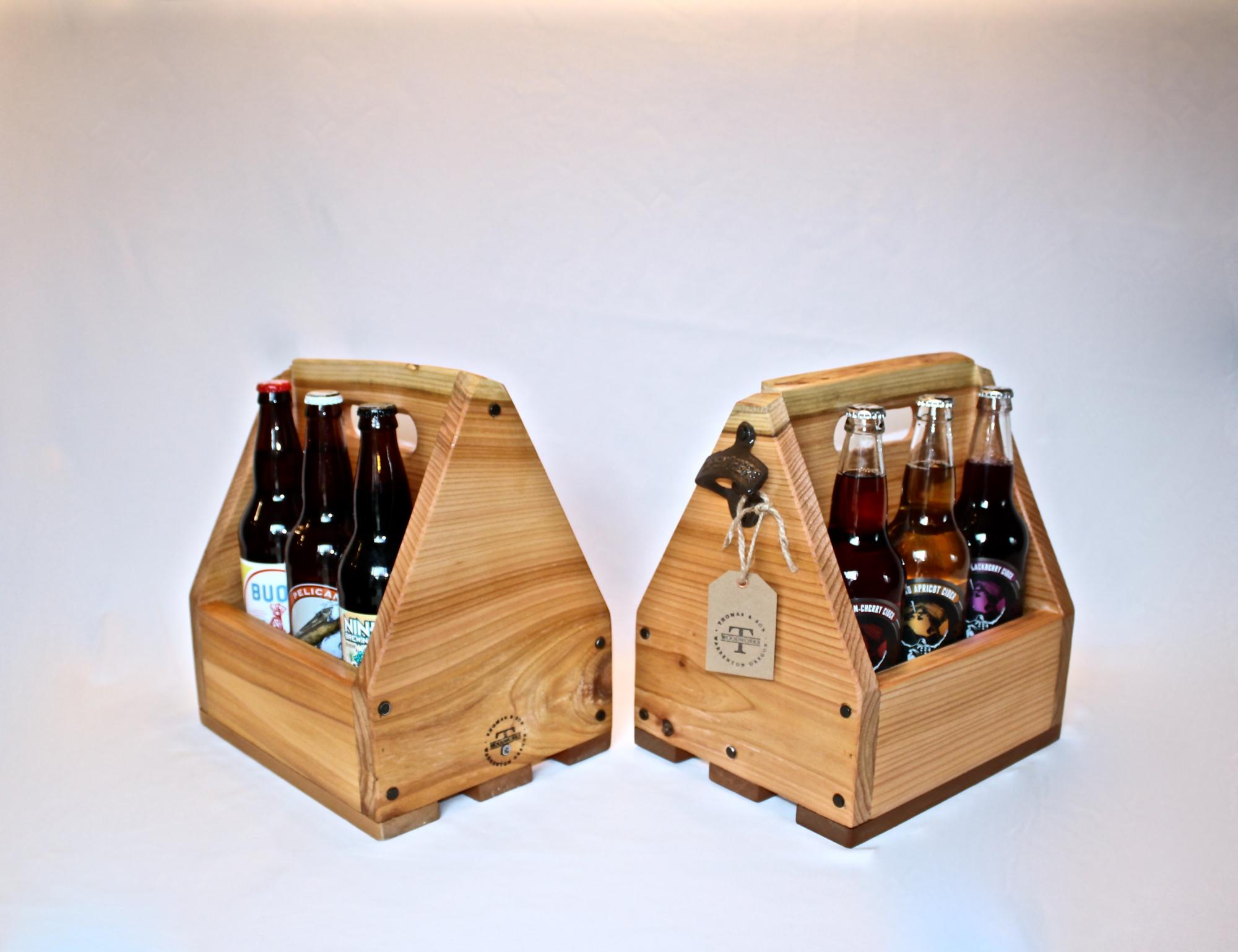 Cedar beer/cider box with opener. $55