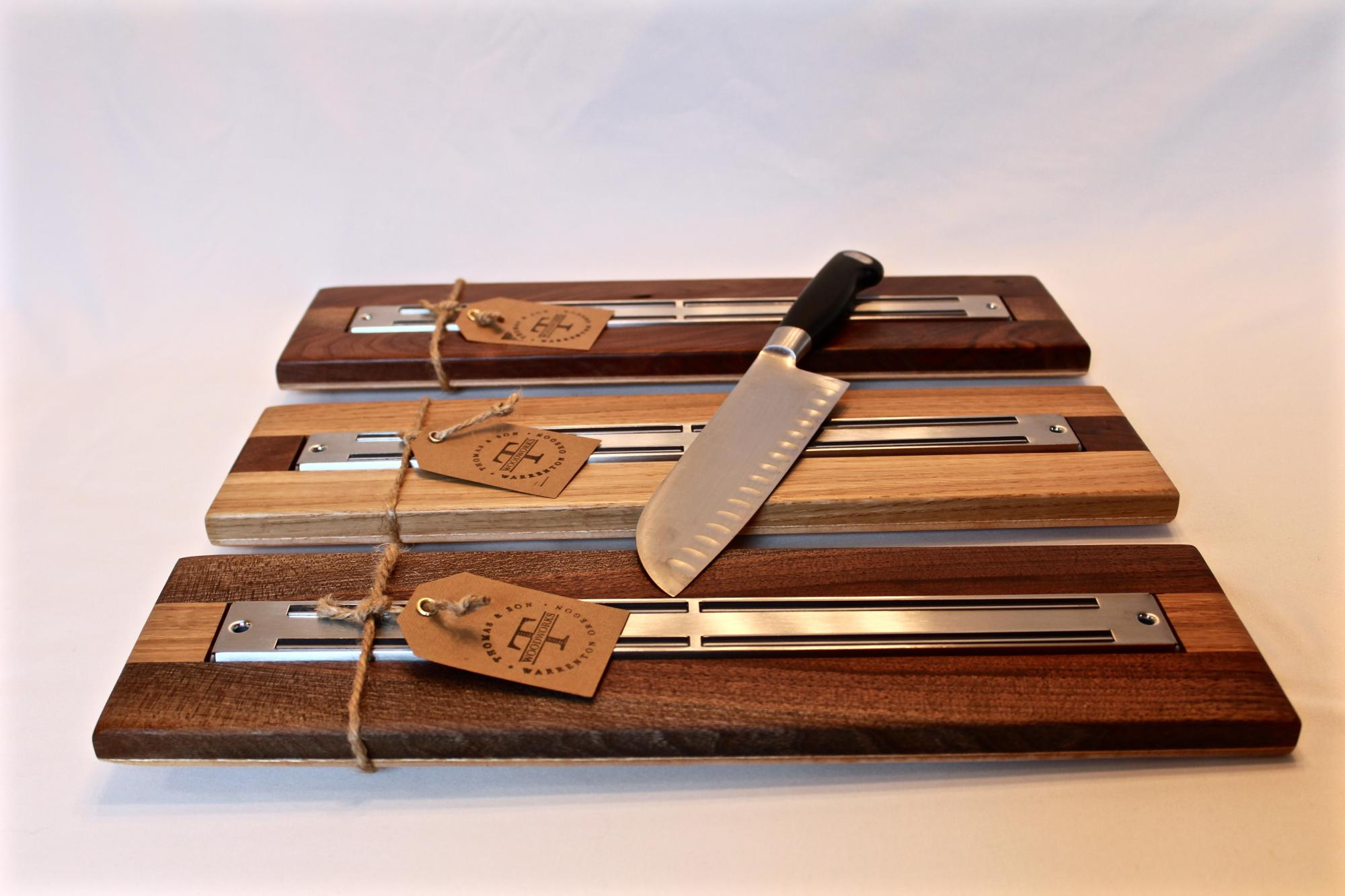 Mixed woods stainless steel magnetic knife racks. $55