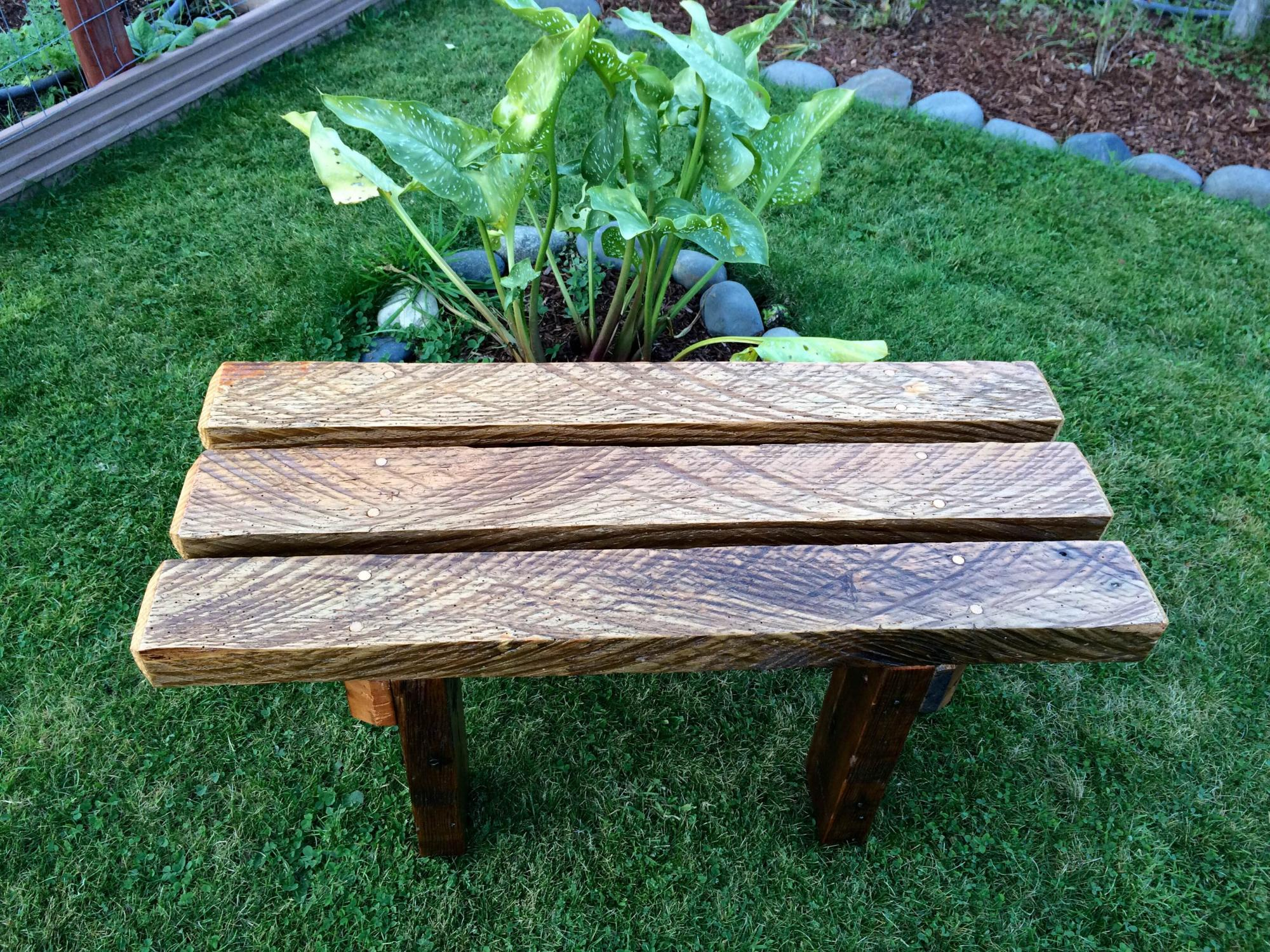 Rough cut old growth Douglas Fir bench.  Wood is from an early 1900's Skamakowa, WA homestead.  32Lx17Wx18H  $225