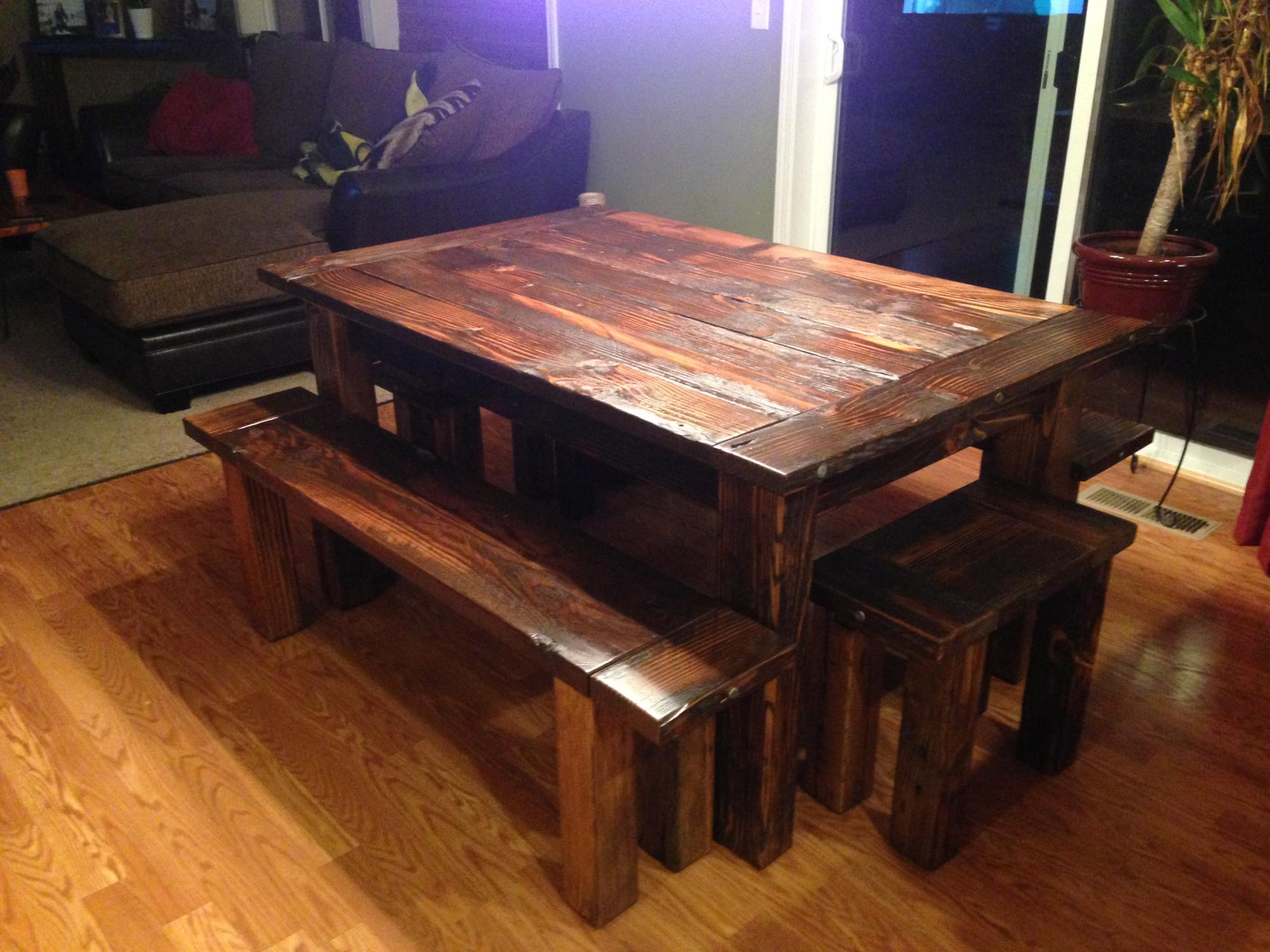 Rough cut Douglas Fir dining table with (4) benches 5'Lx3.5'W $1300