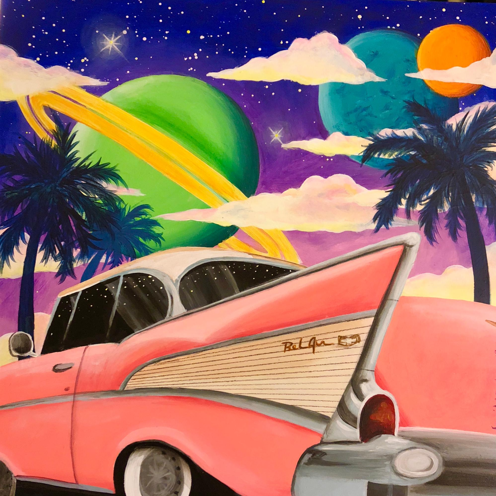 "1957 BelAir with Planets, 12""x12"", acrylic on wood"