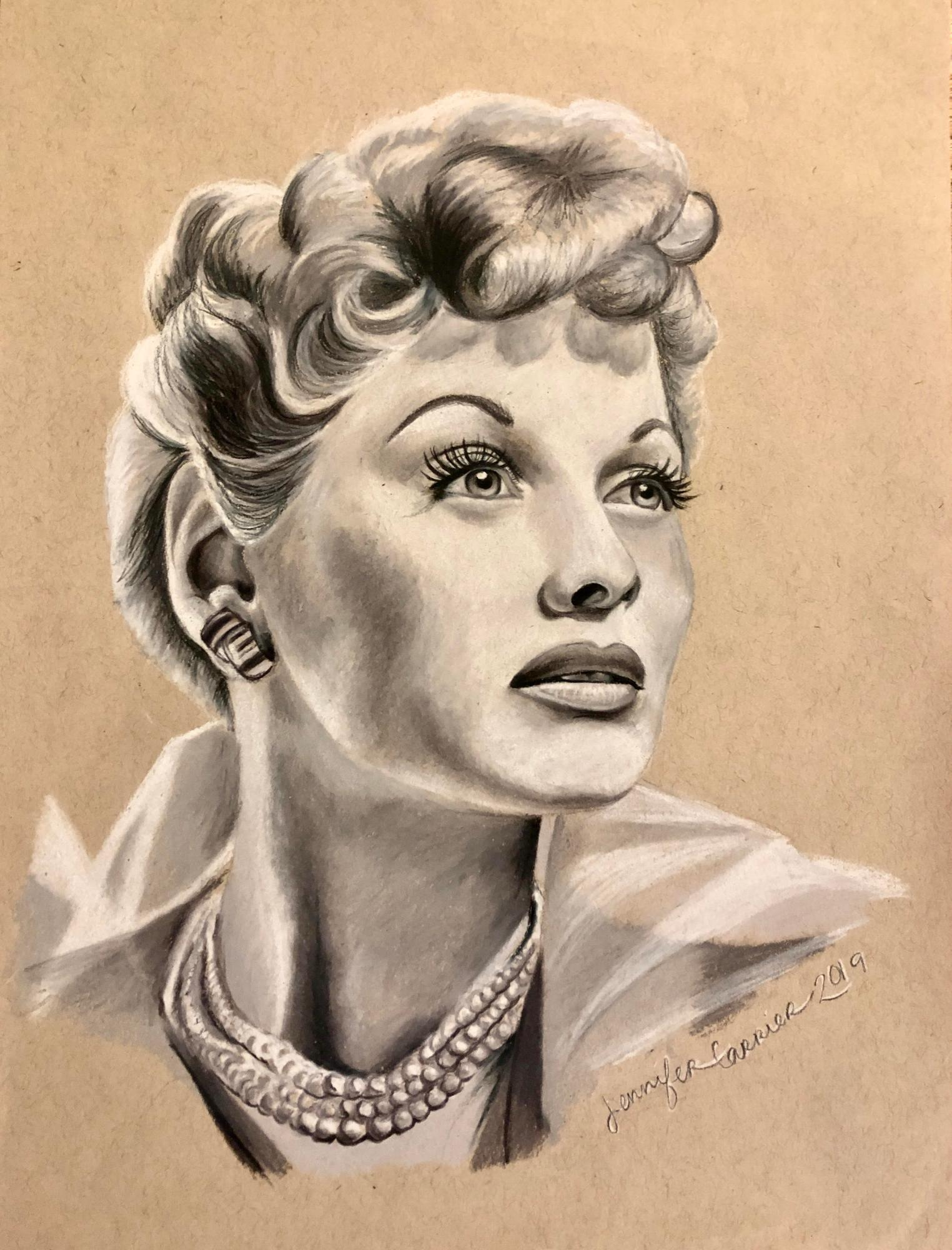 Lucille Ball, Colored Pencil on Paper