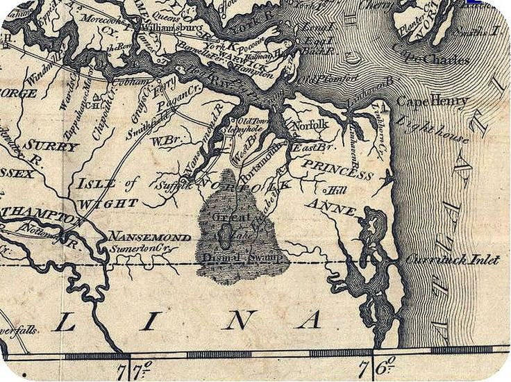 Early Map of Surry and Isle of Wight