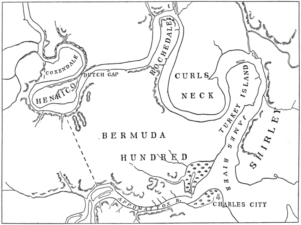 Map of Shirley and Bermuda Hundreds (Virginia Under the Stuarts, Dale Settlements)