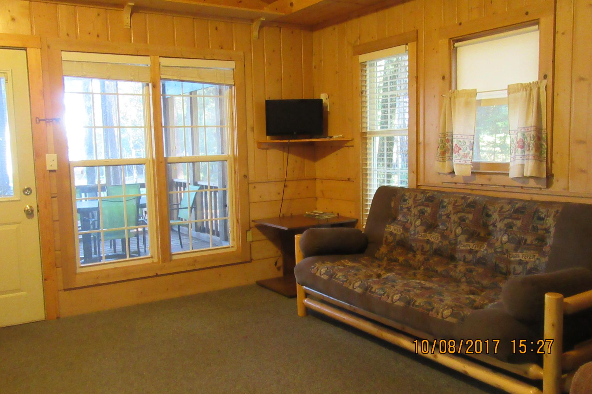 Bass Cottage living room toward screen porch