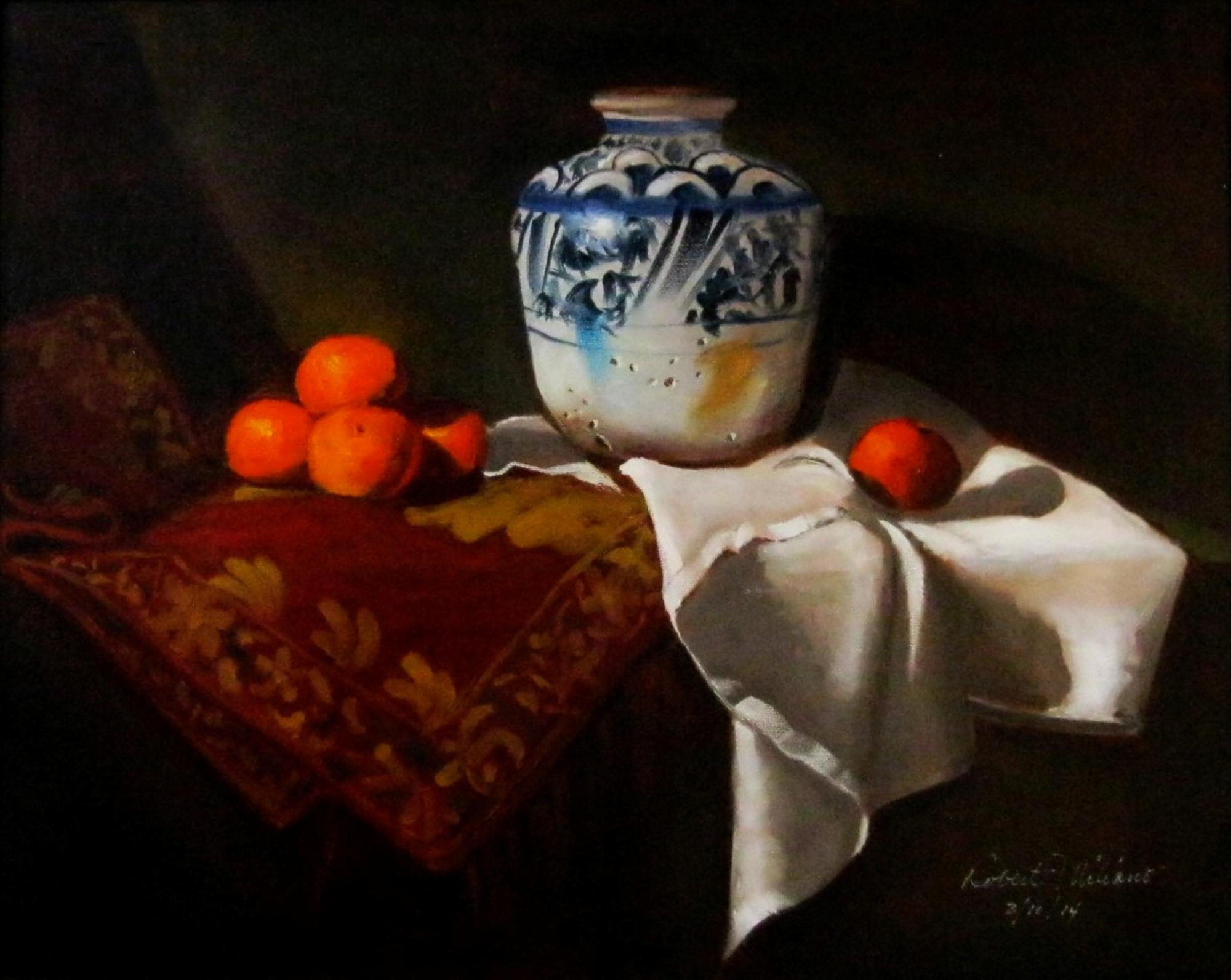 Blue White Vase with Oranges - Roberto Miliano