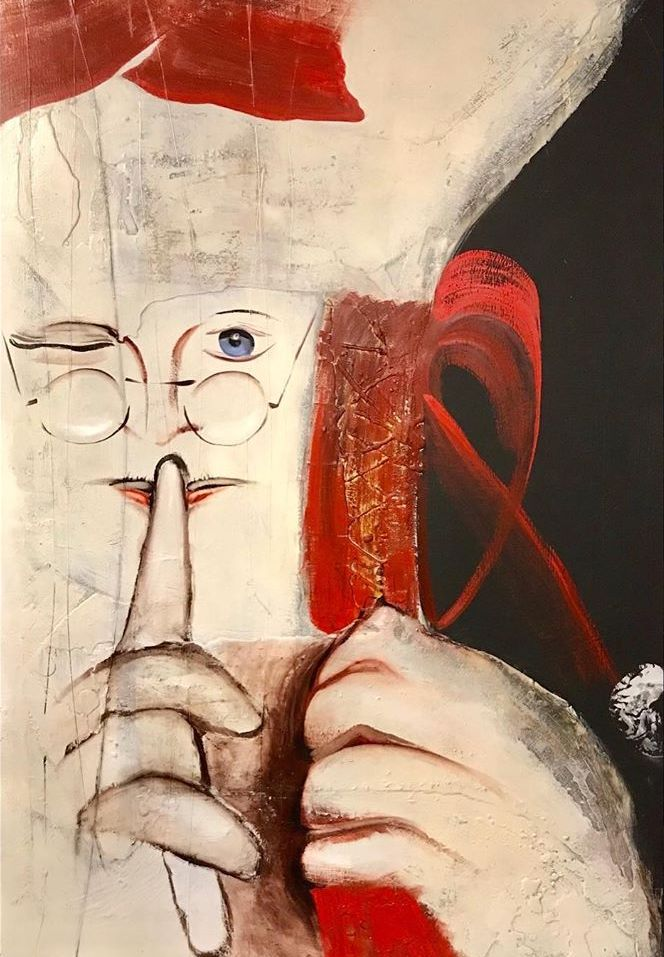 Santa with Gift Bag. mixed media on panel 72x48 in