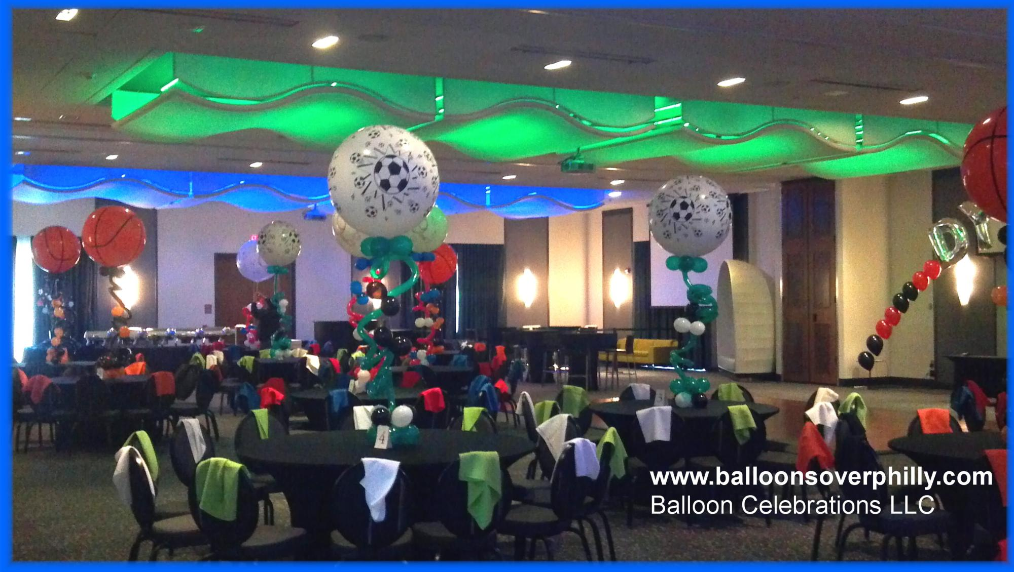Soccer theme Bar Mitzvah at this Cherry Hill Sinagogue