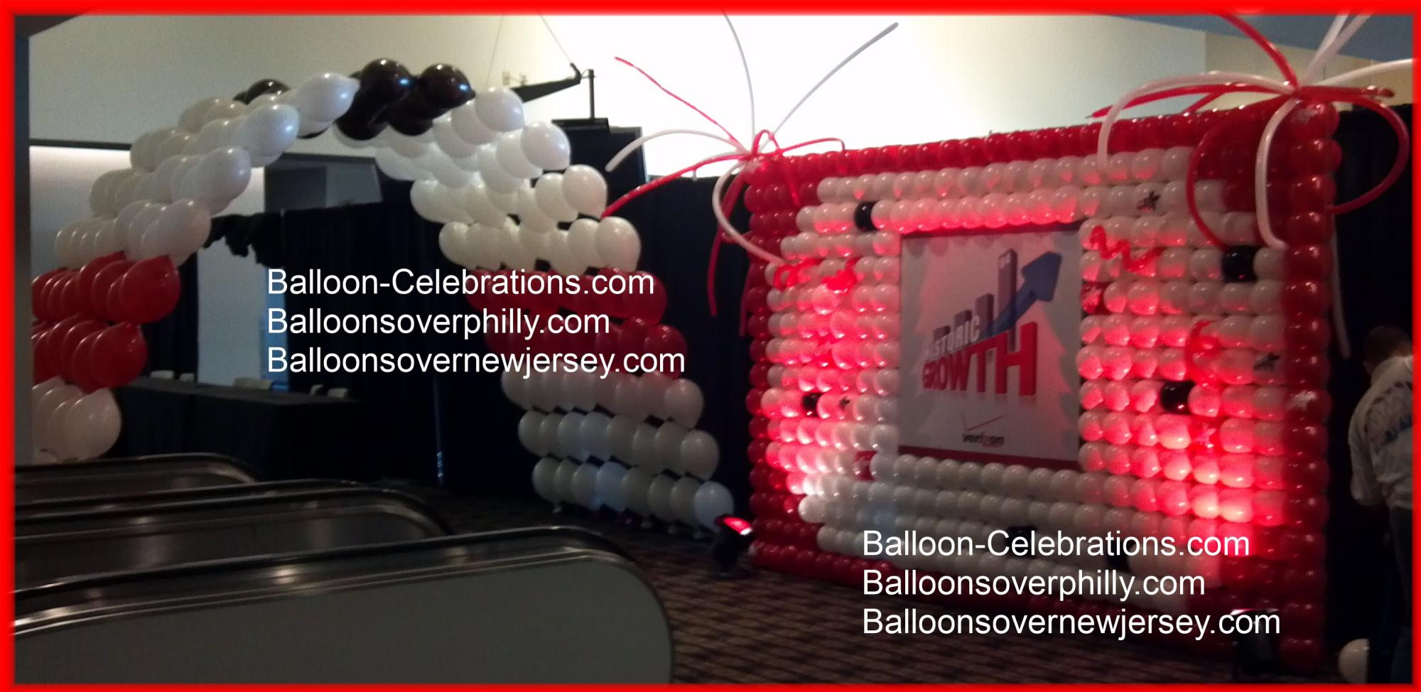Balloon wall and balloon tunnel for a Verizon event