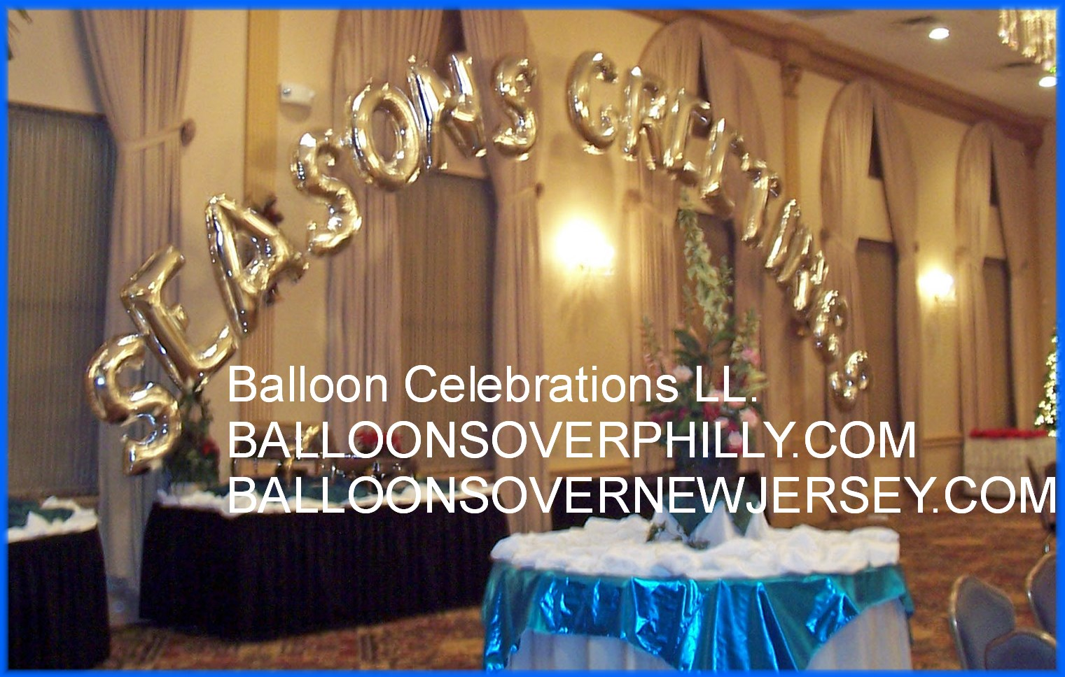 SEASONS GREETINGS BALLOON ARCH AT LUCIENS MANOR IN BERLIN NEW  JERSEY