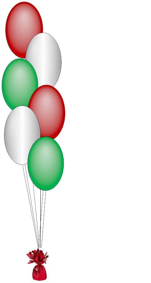 red_white,and green Mexican balloon centerpiece