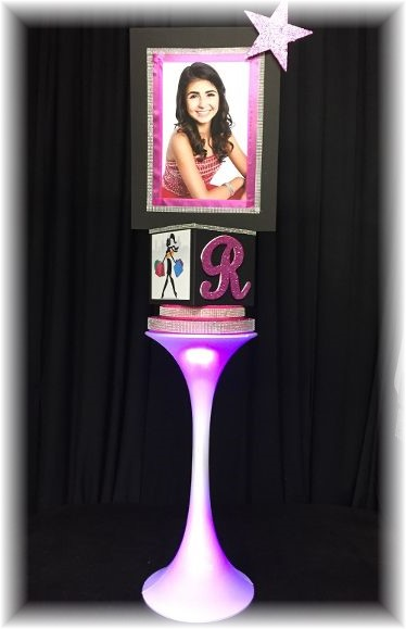 Large photo_cube centerpiece  perched atop a spandex pedestal (Color choices are available for spendex).