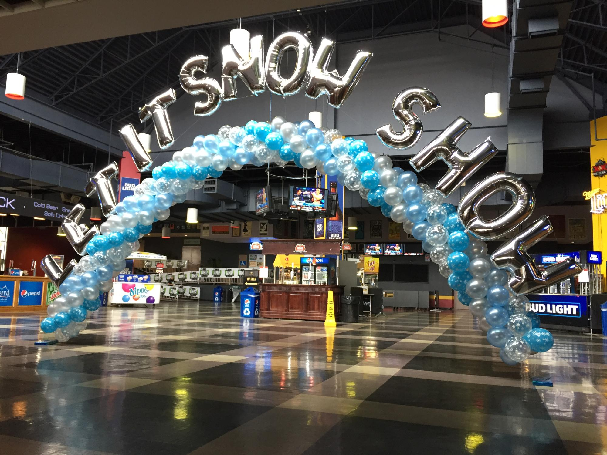 Winter wonderland themed balloon display