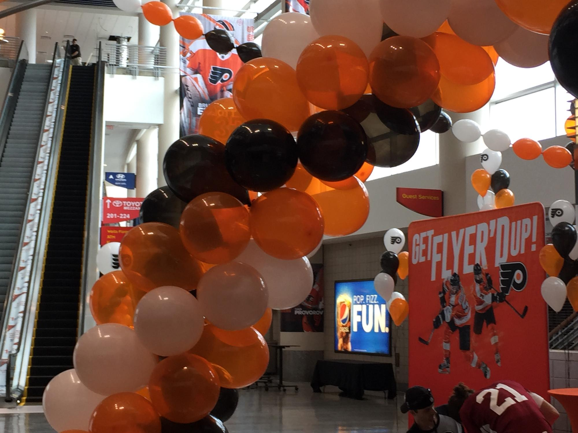 Balloon arches for the Philadelphia Flyers