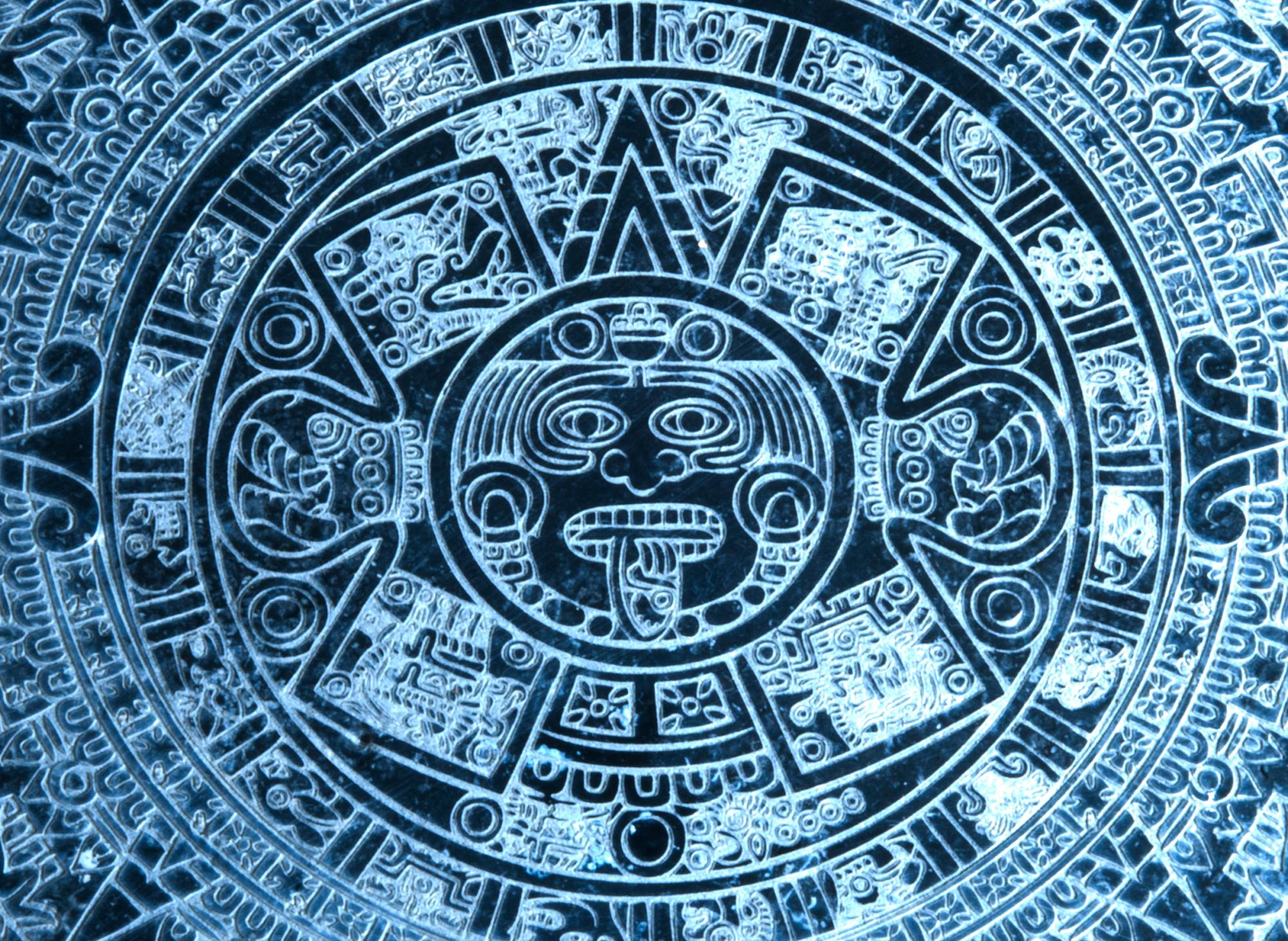 Aztec Calender close up on a Dolomite Tile