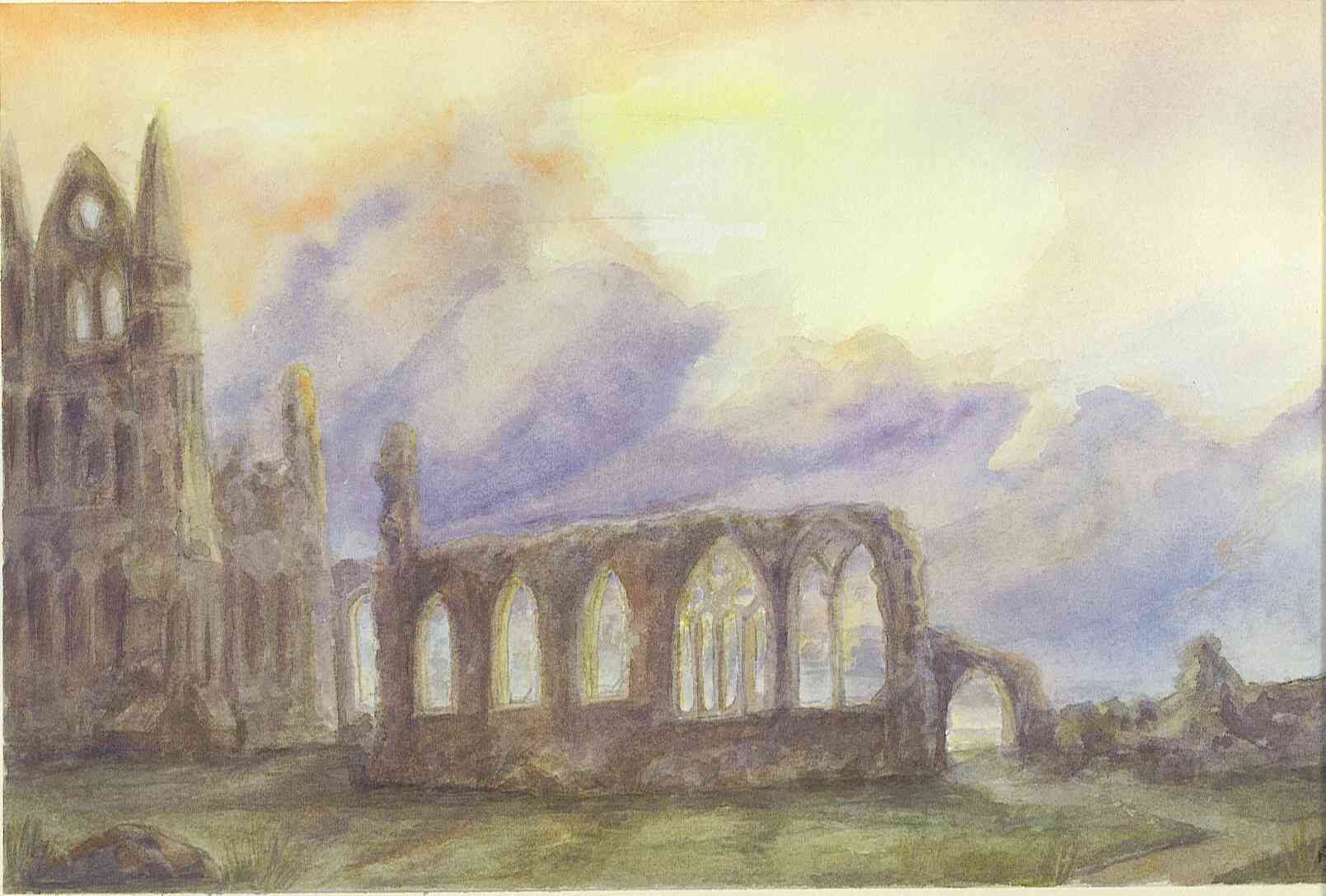 """CROYLAND ABBEY RUINS"" £65. (Framed)"
