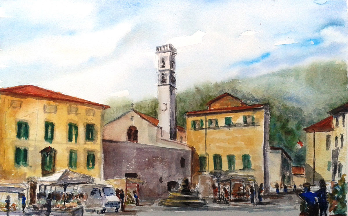 """MARKET DAY IN FIVISSIANO, ITALY""  £85. (A3. UF/UM)"