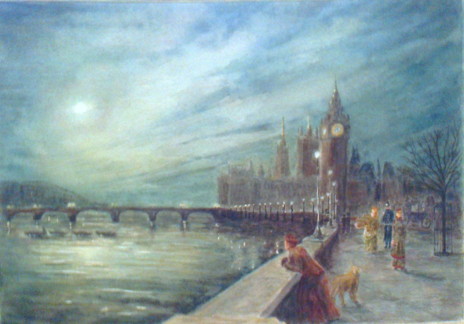 """REFLECTION ON THE THAMES, 1896""  £265 (Framed)"