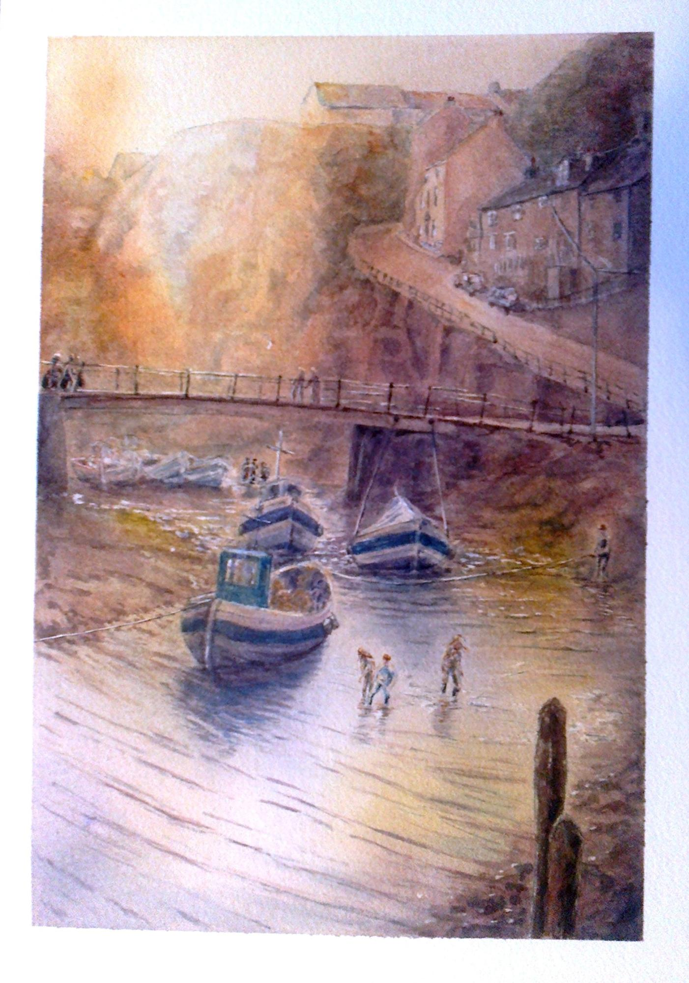 """CORNISH FISHING VILLAGE INLET"" £185 (Framed)"