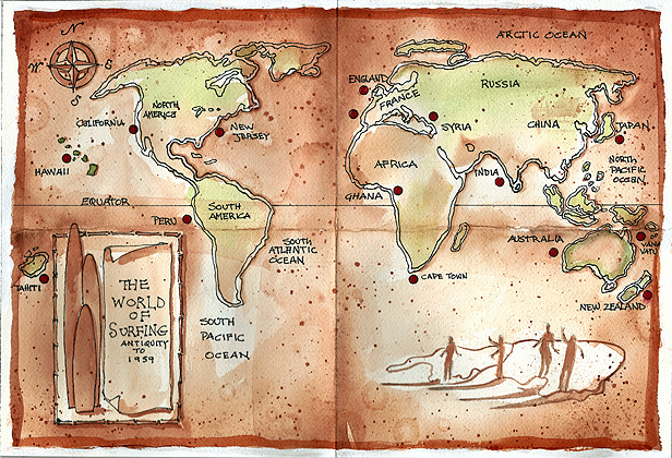WORLD MAP OF EARLY SURFING