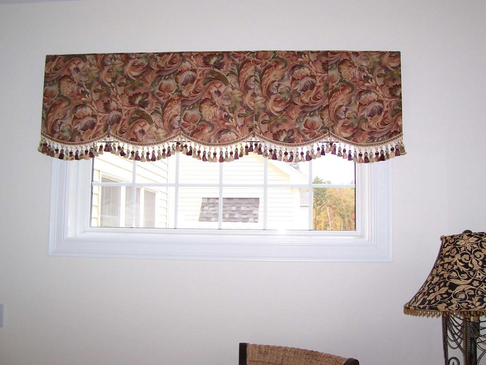 Soft Shaped Cornice with pleats and Tassel Fringe