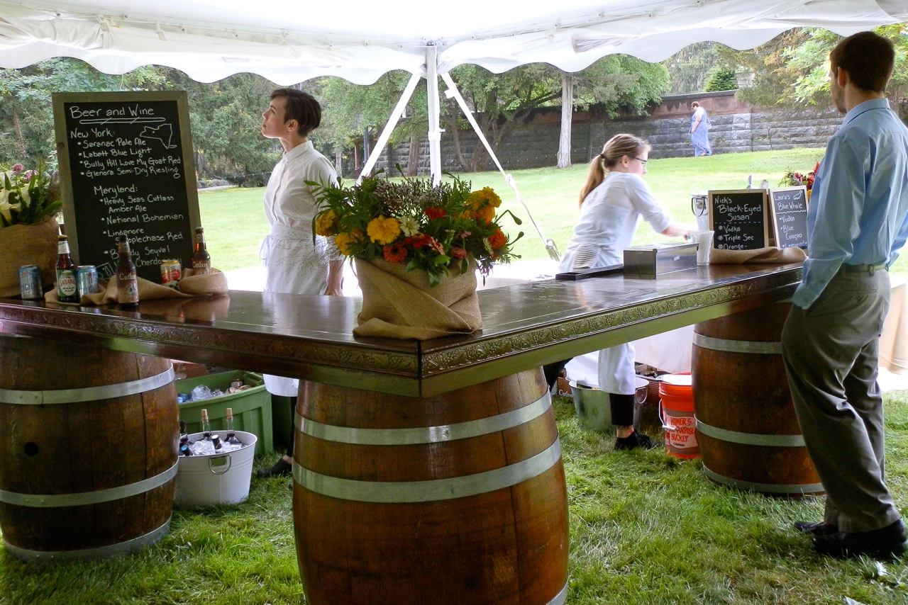 3 barrel Chardonnay rustic bar at Sonnenberg Gardens