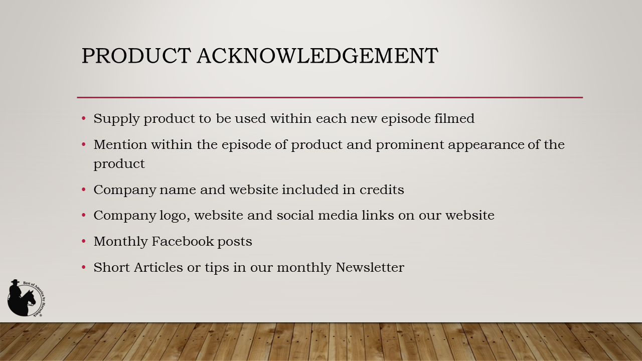 Product Acknowledgement