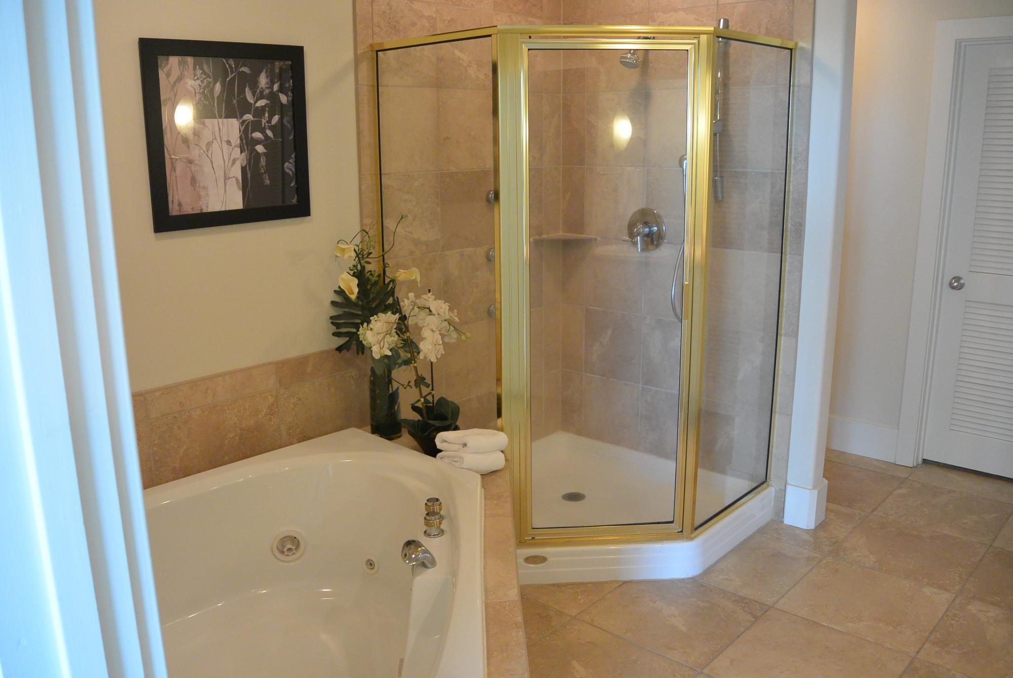 Jacuzzi Tub and Wa;k-in Shower in Master Bath