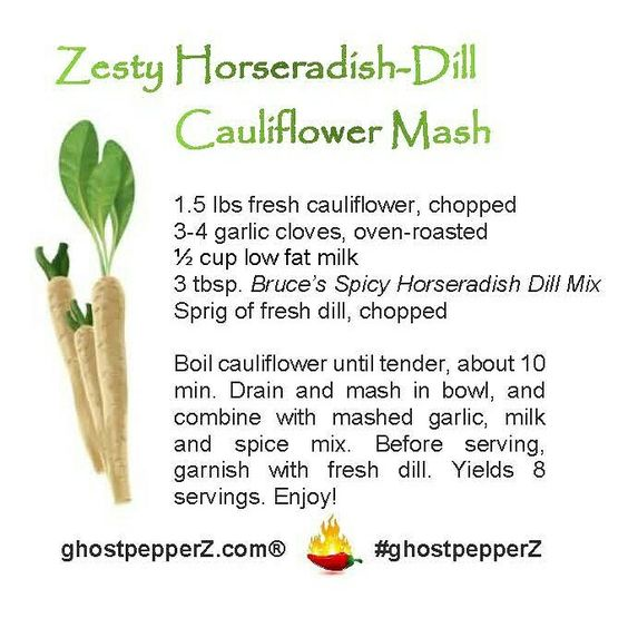 spicy horseradish cauliflower mash recipe