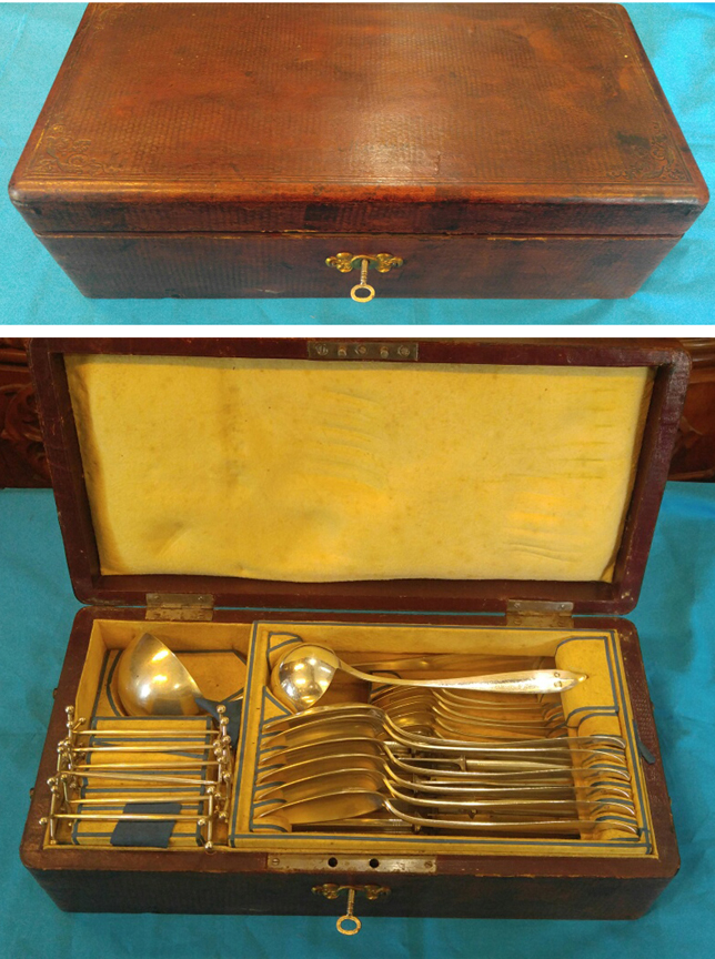 Austrian Sterling Silver Cased Flatware Set Ladles Leather Tooled Box - Circa 1820 - $1,495.00 USD