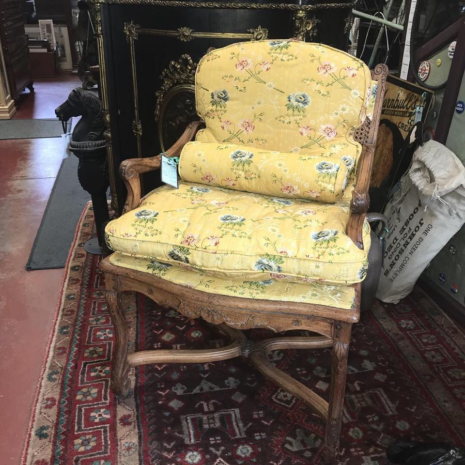Rare, Late Louis XIV, Bergere Upholstered, Walnut Chair - $4,895.00 USD
