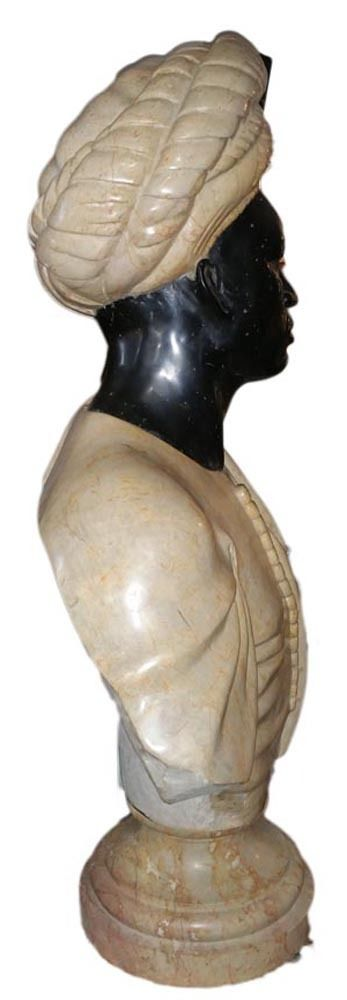 "Marble Hand Carved Huge 33"" Pair BlackamooR   Gent & Woman Busts Late 19th Century - $15,895.00 USD"