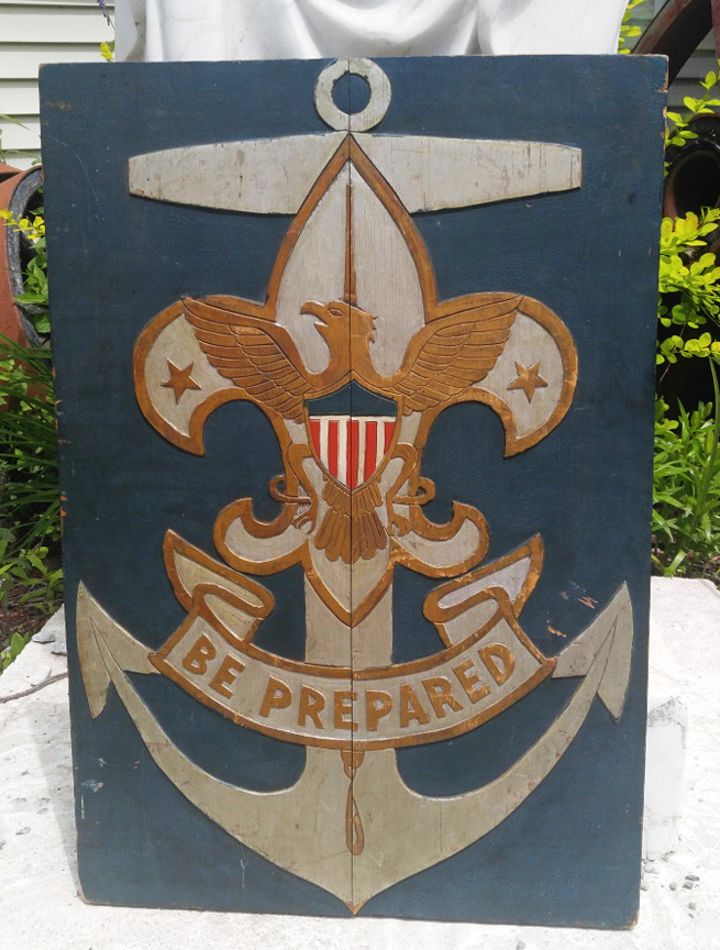 Original and Rare, Boy Scout, Sea Scout Hand Carved Sign - Be Prepared - Circa 1912 - $895.00 USD