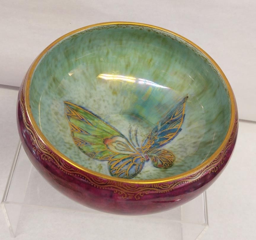 Wedgwood Fairyland Lustre Burgundy Butterfly Footed Bowl - $485.00 USD