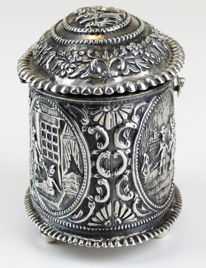 Dutch, Sterling Silver, Repousse Courting Scene, Ball Feet, Tea Caddy - Circa 1817 - $895.00 USD