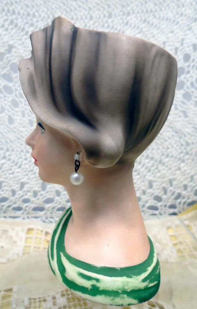 "Napcoware Head Vase, Planter 4 1/2"" with Faux Pearl Earrings in Green - $75.00 USD"
