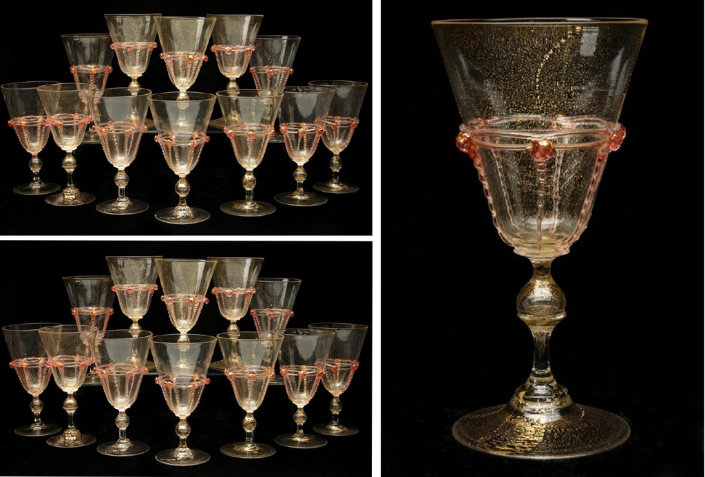 "Salviati Venetian 7"" Tall, Light Cranberry and Gold, Art Glass Goblets - Set of 22 - $2,895.00 USD"