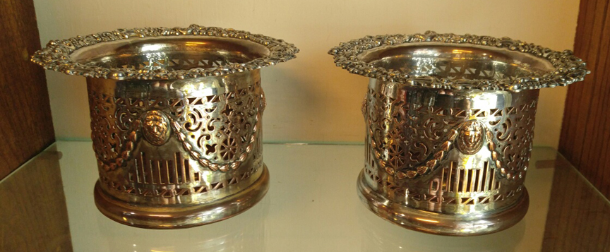"Fabulous Pair of Early Sheffield Plate Repousse 4 3/4"" Tall, Wine Bottle Coasters from the 1830 Period - $485.00 USD"