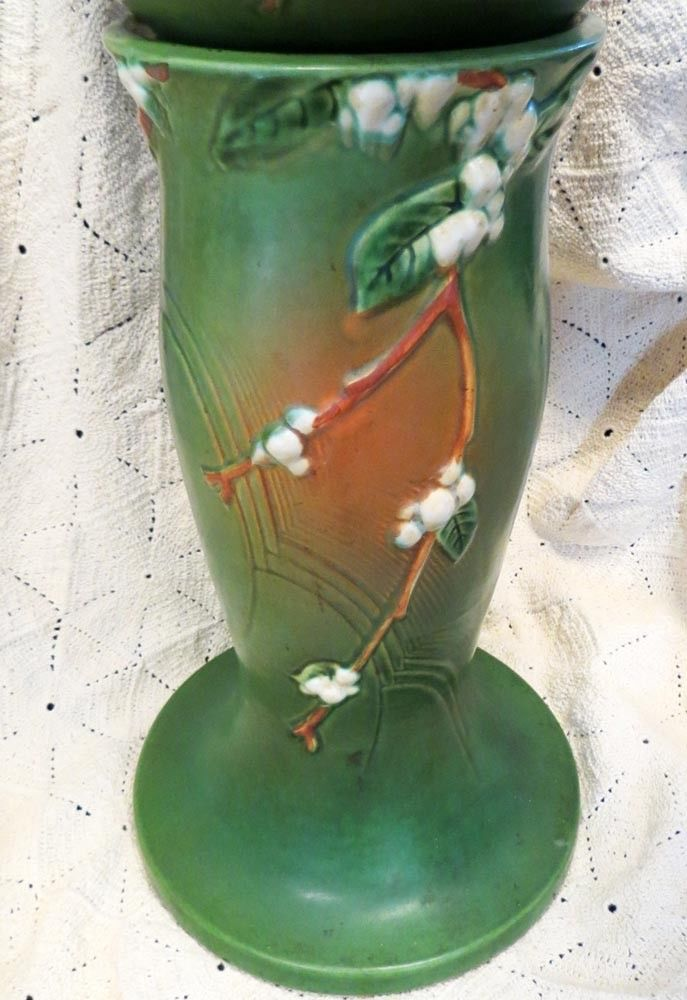 Roseville Snowberry Mid-20th Century Jardiniere with Pedestal Set in Green - $1,195.00 USD