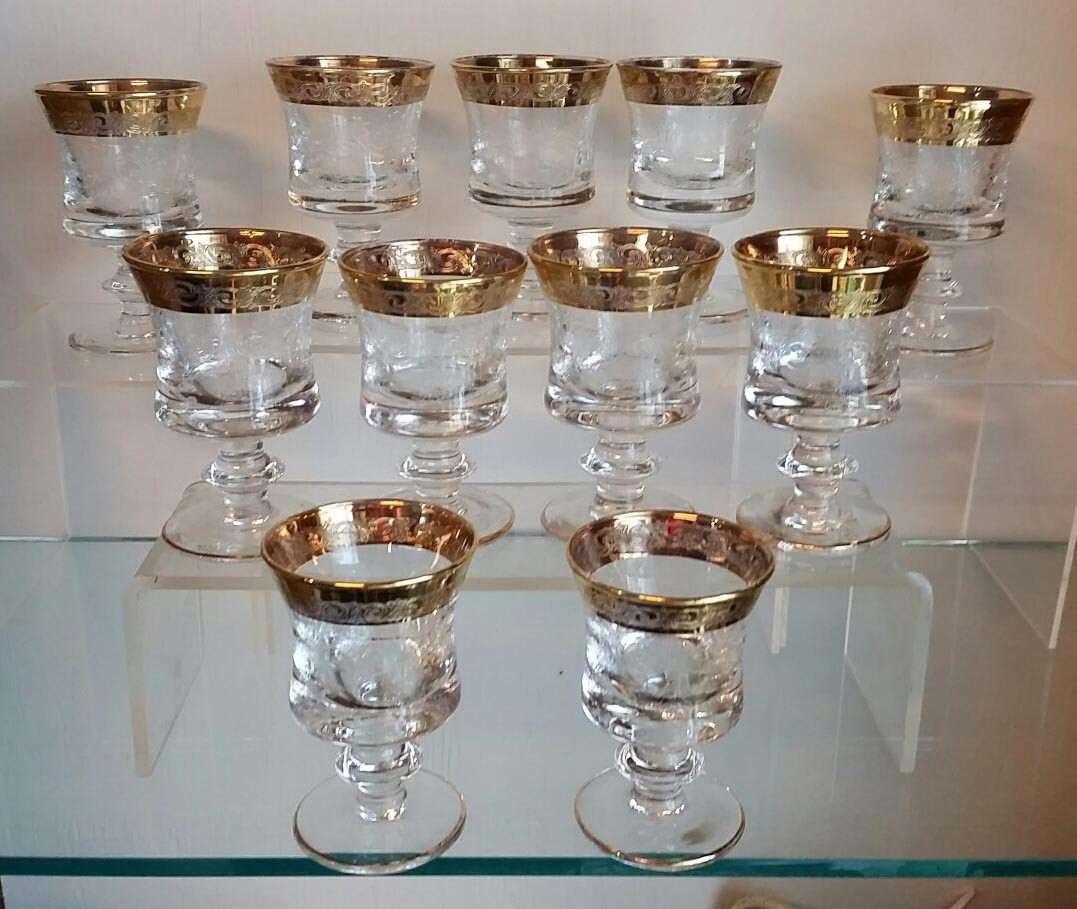 Murano 77 Piece Set, Wide Gold, Highest Quality Hand Blown Stemware Glass Goblets - $2.495.00 USD