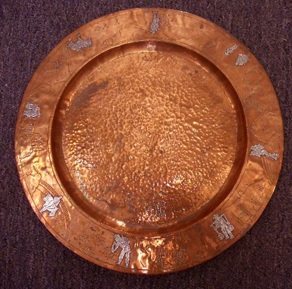 Taxco, Victoria, Mexican, Hand Hammered Copper Round Tray with Sterling Silver Figures in Relief - $395.00 USD