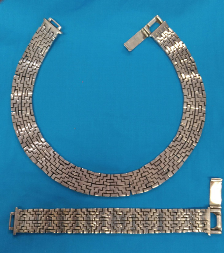 Salvador Garcia, Taxco, Mexico Sterling Silver 925 Necklace and Bracelet Set - $1,495.00 USD